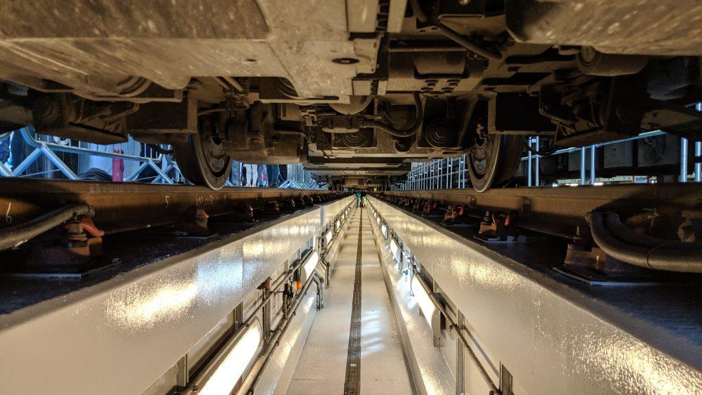 Underneath a train