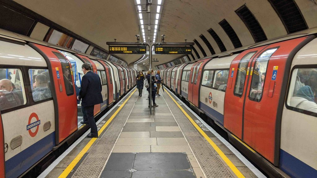 Tube Trains meet at Clapham North