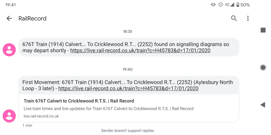 Rail Record Text Message