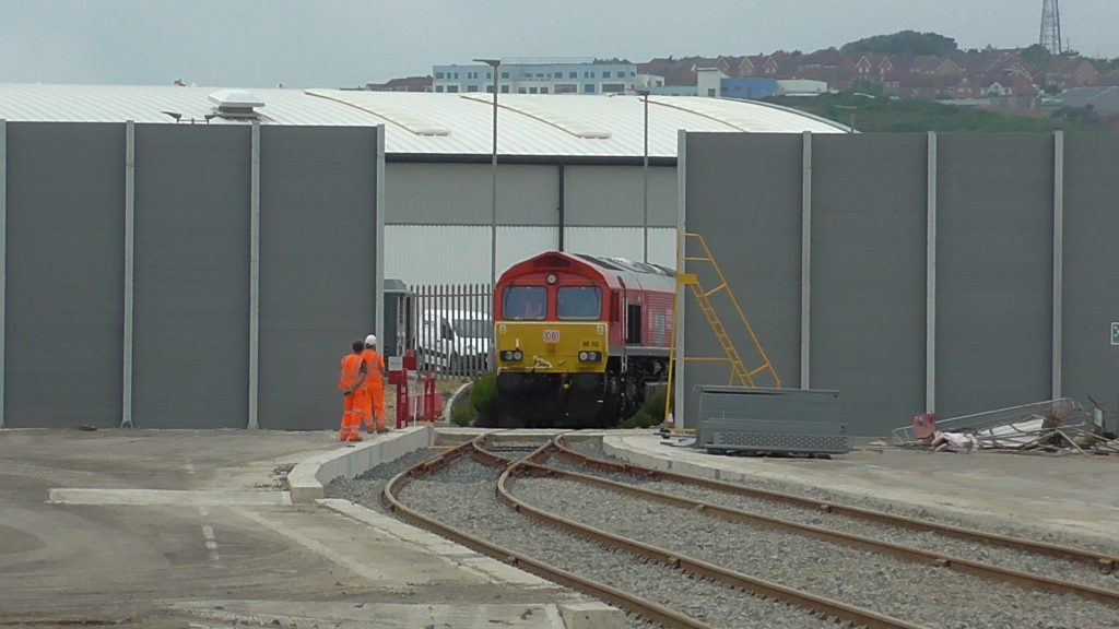66113 at the entrance to Newhaven Marine complex