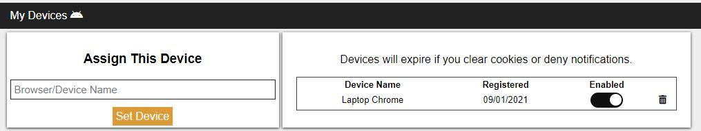 Assign Device Screenshot
